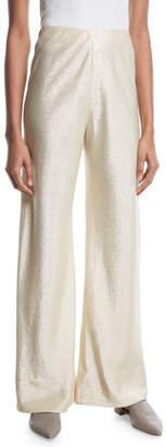 Rosetta Getty Bias-Cut Metallic Twill Trousers