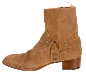 Saint Laurent Suede Wyatt Ankle Boots