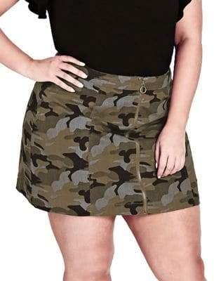 City Chic Plus Miss Military Camouflage Cotton Skirt