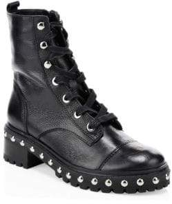 Schutz Women's Andrea Studded Leather Combat Boots - Black - Size 5
