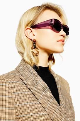6898f876c18a Topshop Womens Zina Plum Oval Frame Sunglasses - Pale Pink