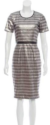 Burberry Leather-Trimmed Sequin Dress