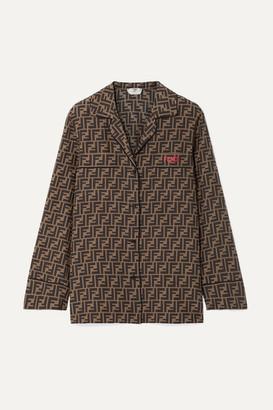 Fendi Embroidered Printed Silk-satin Shirt - Tan