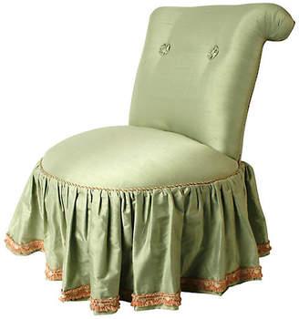 One Kings Lane Vintage 1980s Seafoam Silk Boudoir Chair