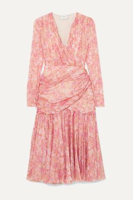 Giambattista Valli Gathered Floral-print Silk-chiffon Midi Dress - Pink
