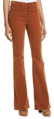 Veronica Beard Beverly Skinny Flared Corduroy Pants w/ Button Fly