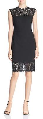 Three Dots Lace Trimmed Ponte Dress