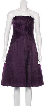 Carmen Marc Valvo Pleated Strapless Dress