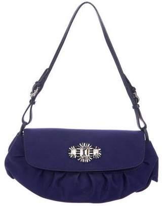 Jimmy Choo Leather-Trimmed Embellished Shoulder Bag