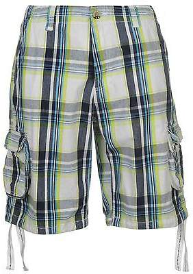 Soul Cal SoulCal Mens Check Cargo Shorts Pants Trousers Bottoms Drawstring Zip Cotton