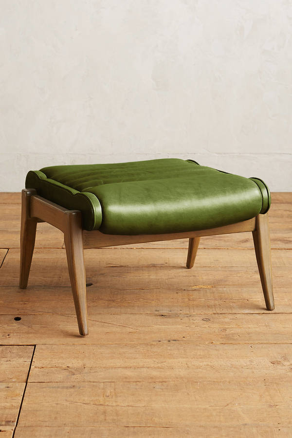 Anthropologie Anthropologie Premium Leather Roadway Ottoman