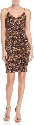 Bebe Leopard Cowl Back Dress