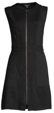 Misook Knit& Ponte Zip-Front Mini Dress
