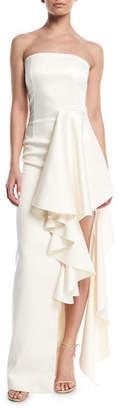SOLACE London Aryana Strapless Maxi Dress w/ Dramatic Ruffle Detailing