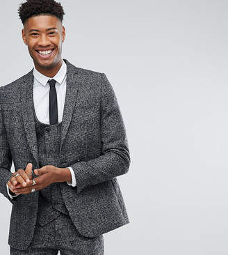 Asos DESIGN TALL Slim Suit Jacket In Moons Wool Rich Monochrome Check