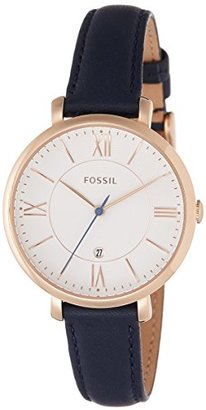 Fossil ES3843 Jacqueline Rose Gold-Tone Watch with Navy Leather Band $115 thestylecure.com