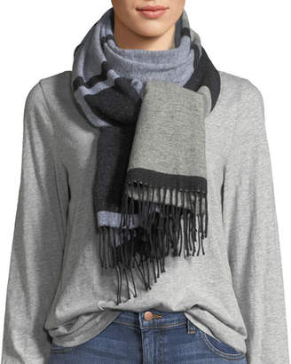 Eileen Fisher Mod Jacquard Fringed-End Scarf