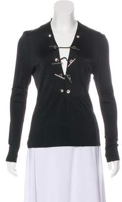 Thierry Mugler V-Neck Long Sleeve Top