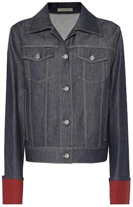 Bottega Veneta Suede-trimmed denim jacket