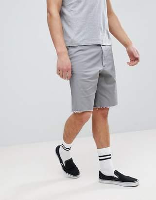 Asos Design DESIGN Skater Shorts With Raw Edge In Light Gray