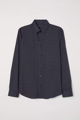 H&M Slim Fit Dotted Shirt - Blue