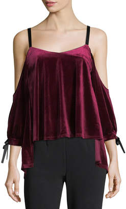 Romeo & Juliet Couture Velvet & Ribbon Cold-Shoulder Blouse