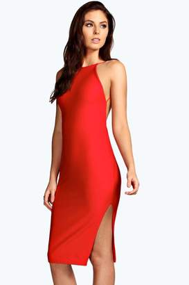 boohoo Lydia Crepe Low Back Midi Bodycon Dress $35 thestylecure.com