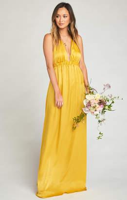 Show Me Your Mumu Luna Halter Dress ~ Honey Gold Sheen