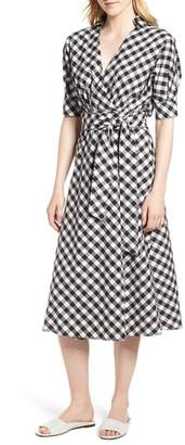 Habitual Gingham Wrap Midi Dress