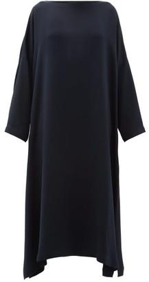 eskandar Boat Neck Silk Crepe Midi Dress - Womens - Navy