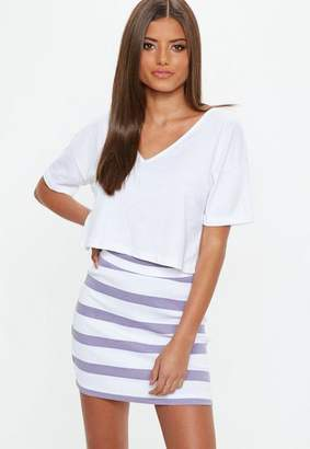 Missguided Purple Striped Jersey Mini Skirt