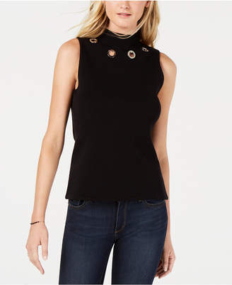 Bar III Grommet-Trim Mock-Neck Top, Created for Macy's