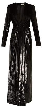 Saint Laurent Deep V Neck Velvet Lame Gown - Womens - Black