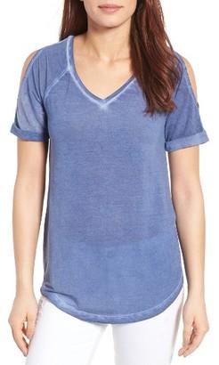 Petite Women's Caslon Cold Shoulder V-Neck Tee $39 thestylecure.com