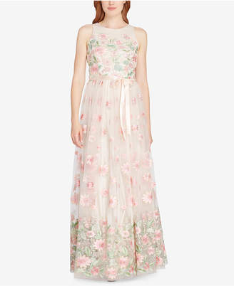 Tahari ASL Floral-Embroidered A-Line Gown