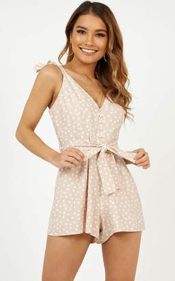 Showpo Spot Me Playsuit in Beige Spot - 8 (S) Casual Dresses