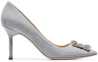Manolo Blahnik metallic silver hangisi 90 glitter pumps