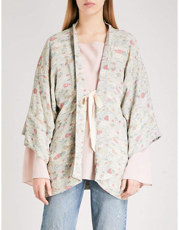 Drew floral-print crepe kimono jacket
