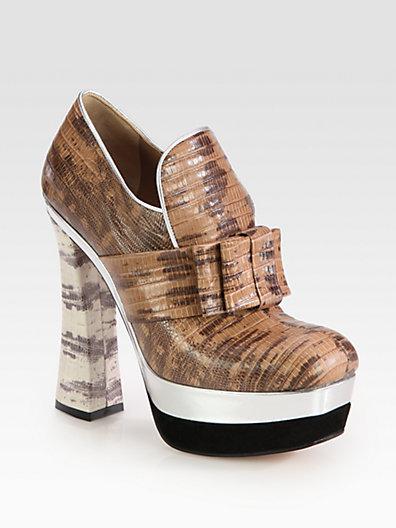Miu Miu Stamped Snakeskin Leather Bow Platform Booties