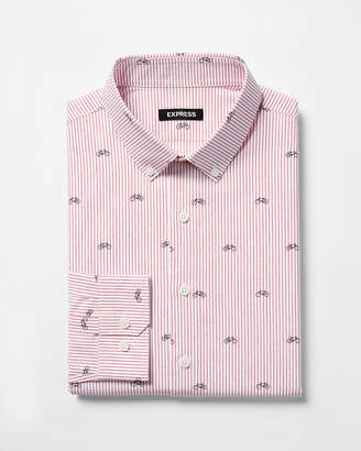 Express Extra Slim Striped Bike Print Dress Shirt