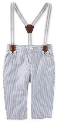 Seersucker Suspender Pants in Blue