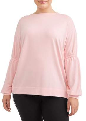 b5ad8fb01389a Avia Women's Plus Size Gathered Sleeve Pullover Top