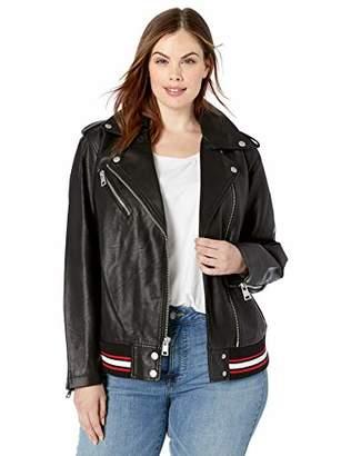 Levi's Women's Plus Size Rib Knit Faux Leather Moto Bomber Jacket