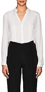 L'Agence Women's Amalea Pintucked Silk Blouse-White