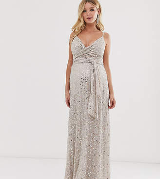 Asos Design DESIGN Maternity tie waist maxi dress in all over sequin