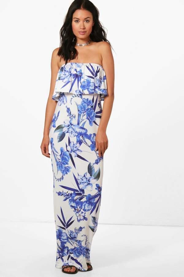 boohoo Nicole Tropical Floral Bandeau Maxi Dress
