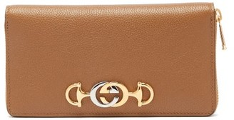 Gucci Zumi Logo Plaque Gained Leather Wallet - Womens - Tan