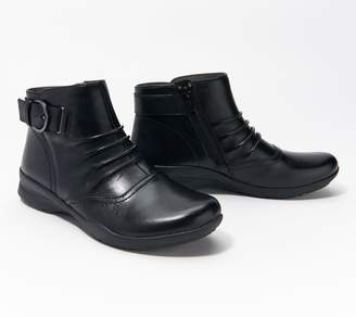 Earth Leather Ankle Boots Buckle Detail - Natural Tahoe