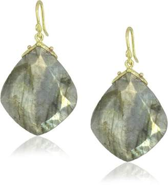 Gabrielle Sanchez 11x14mm Faceted Labradorite Drop with Medium Double Seed Earrings
