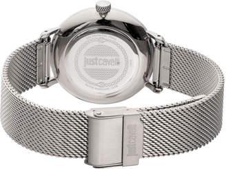 Just Cavalli 34mm CFC Stainless Steel Bracelet Watch w/ Mesh Strap, Silver